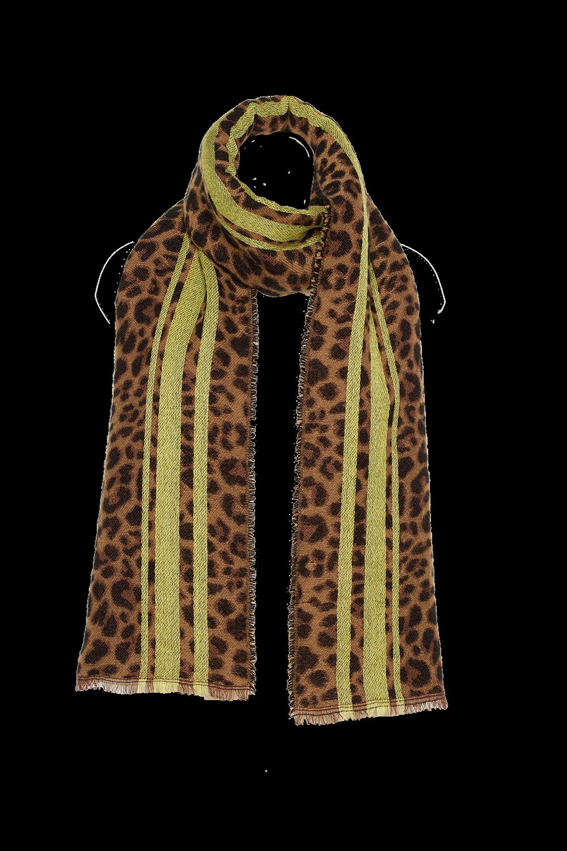 LEOPARD STRIPE SCARF in colour ANTELOPE
