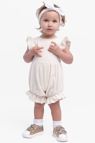 BASIC RIB ROMPER in colour EGGNOG