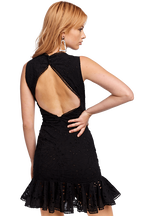 DARCY OPEN BACK DRESS in colour CAVIAR