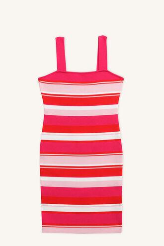 MINDY STRIPE DRESS in colour FUCHSIA PURPLE