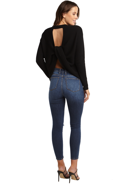 TWIST BACK SWEAT TOP in colour CAVIAR