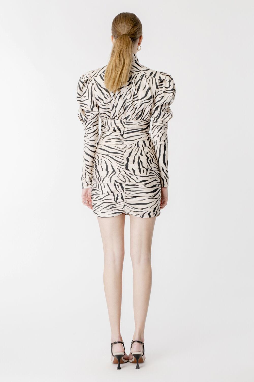 TIGER PRINT MINI DRESS in colour TURTLEDOVE
