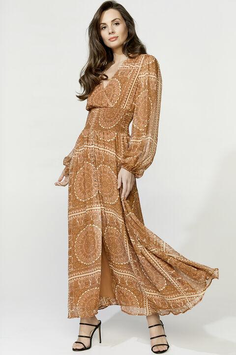 MARA MAXI DRESS in colour MUTED CLAY