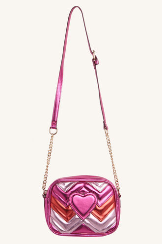 HEART EXPLOSION CROSS BODY BAG in colour PINK CARNATION
