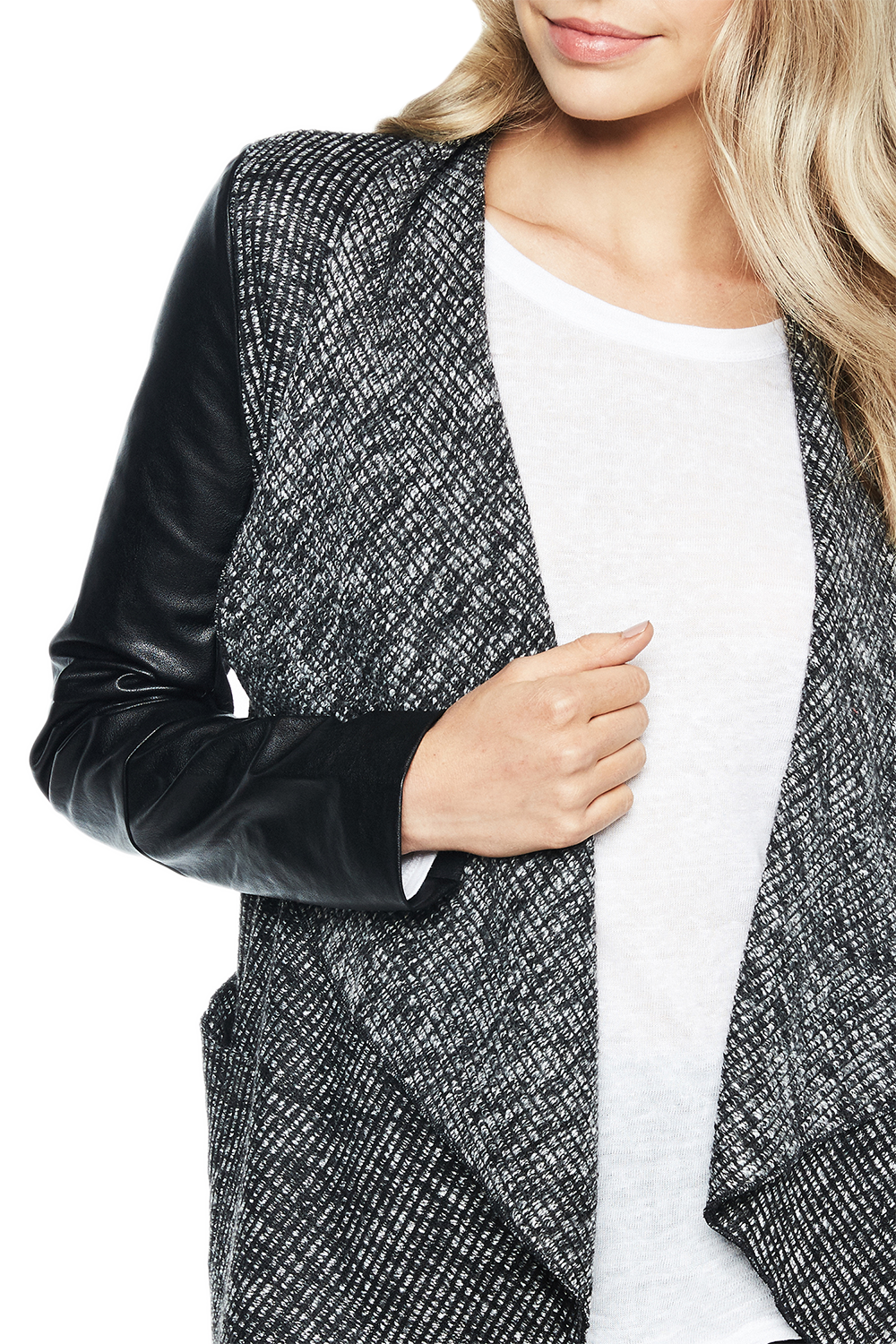WATERFALL CARDI in colour JET BLACK