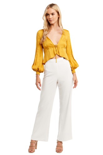 TIE FRONT BLOUSE in colour CREAM GOLD