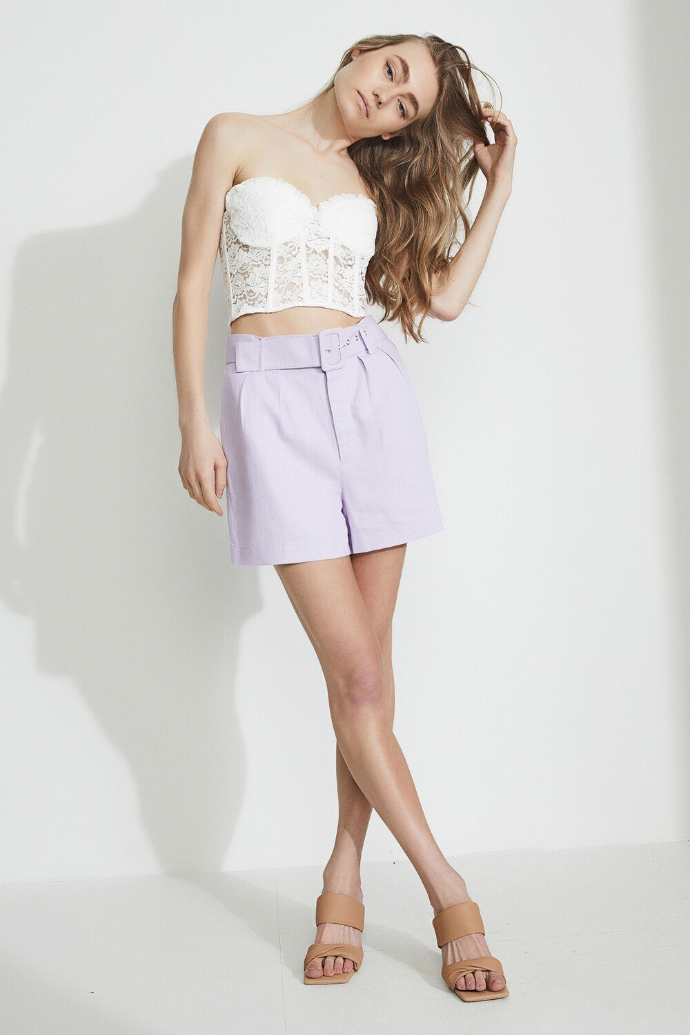 THE LINEN SHORT in colour GRAY LILAC