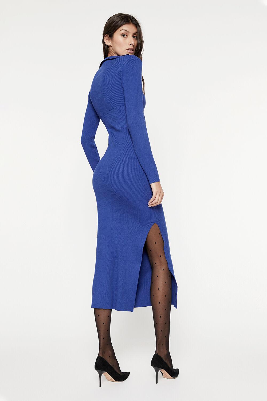 COLLAR KNIT DRESS in colour BRIGHT COBALT