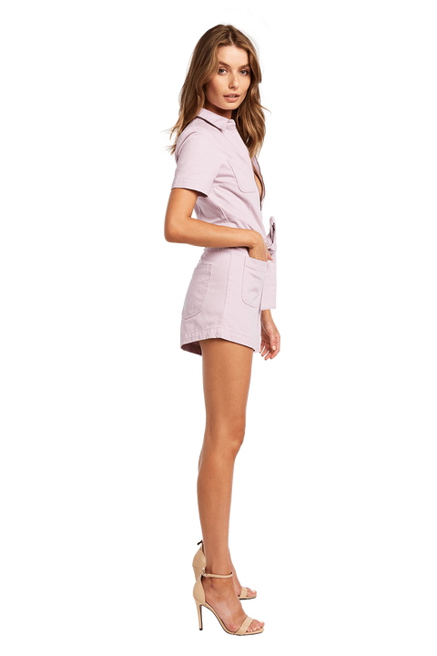 DENIM ZIP ROMPER in colour GRAY LILAC
