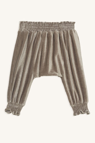 SHIRRED BUTTON PANT in colour STUCCO
