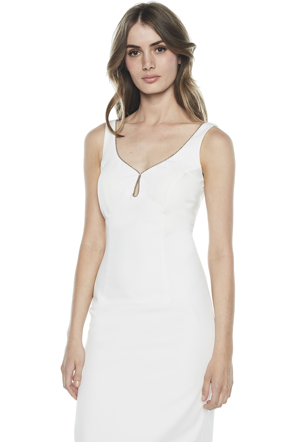 SIENNA TRIM DRESS in colour CLOUD DANCER