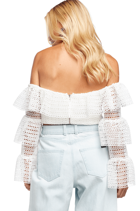 MACEY LACE TOP in colour CLOUD DANCER