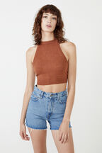 KNIT HALTER TOP in colour TAN