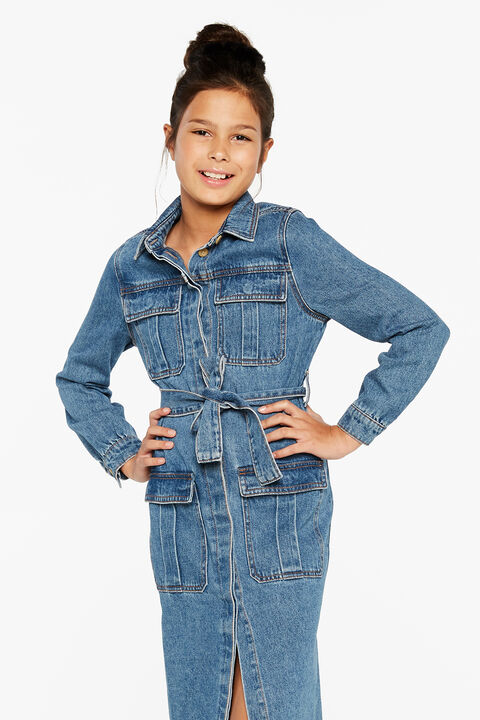 TWEEN GIRL MIRA DENIM SHIRT DRESS in colour TRUE NAVY