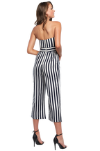 STRIPE BOW JUMPSUIT in colour CLOUD DANCER