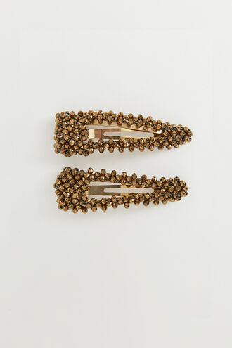 GOLD METALLIC CLIP SET in colour GOLD EARTH