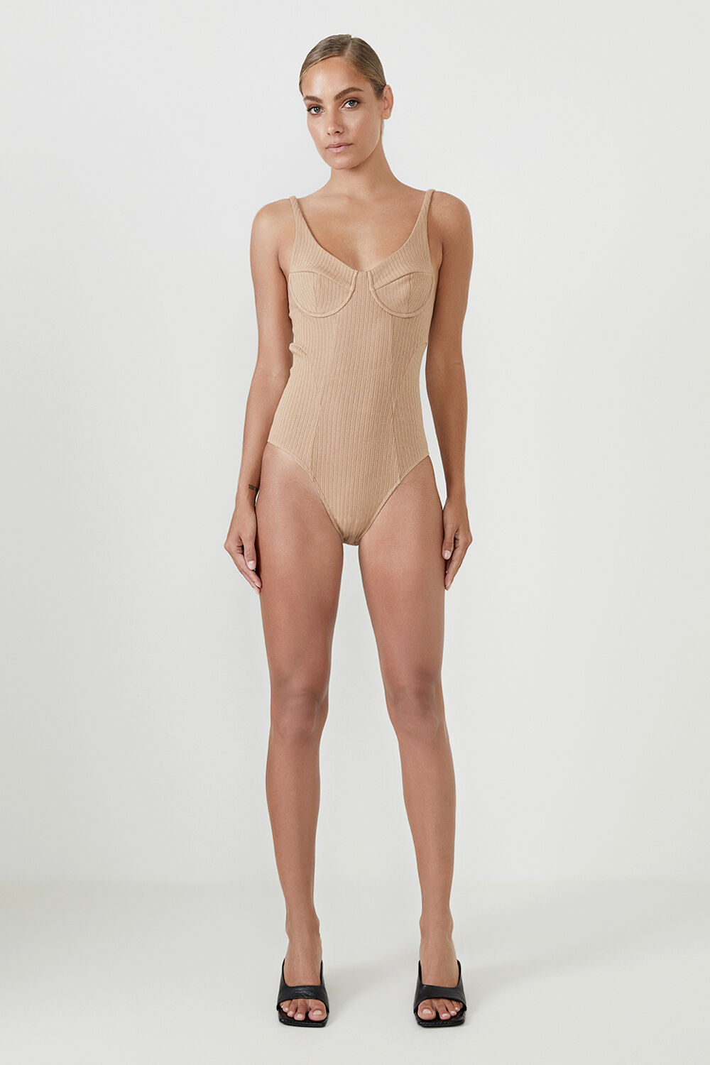 THE POINTELLE BODYSUIT  in colour TAN