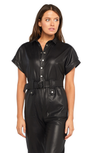 BELTED vegan leather PANTSUIT in colour CAVIAR