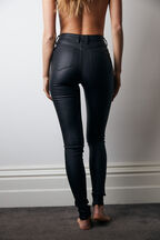KHLOE HI TALL COATED JEAN in colour JET BLACK