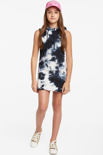 LEILA HOODED DRESS in colour INSIGNIA BLUE