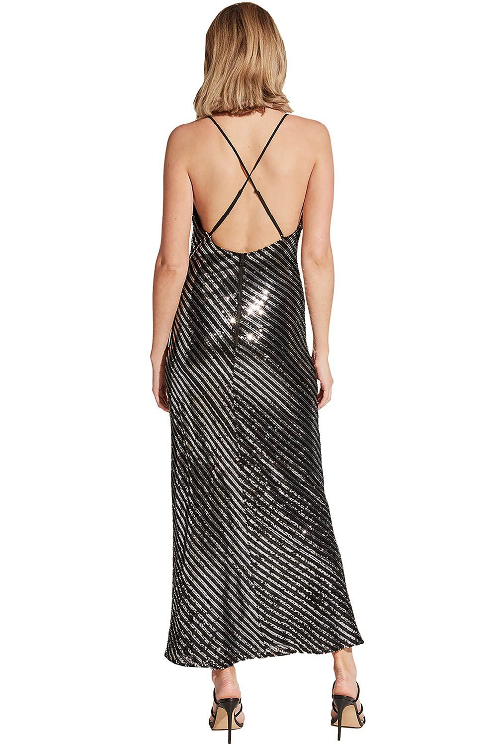 STRIPE SEQUIN SLIP in colour METEORITE