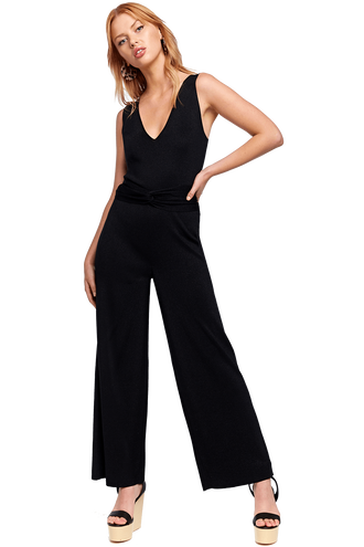 PIPER KNIT JUMPSUIT in colour CAVIAR