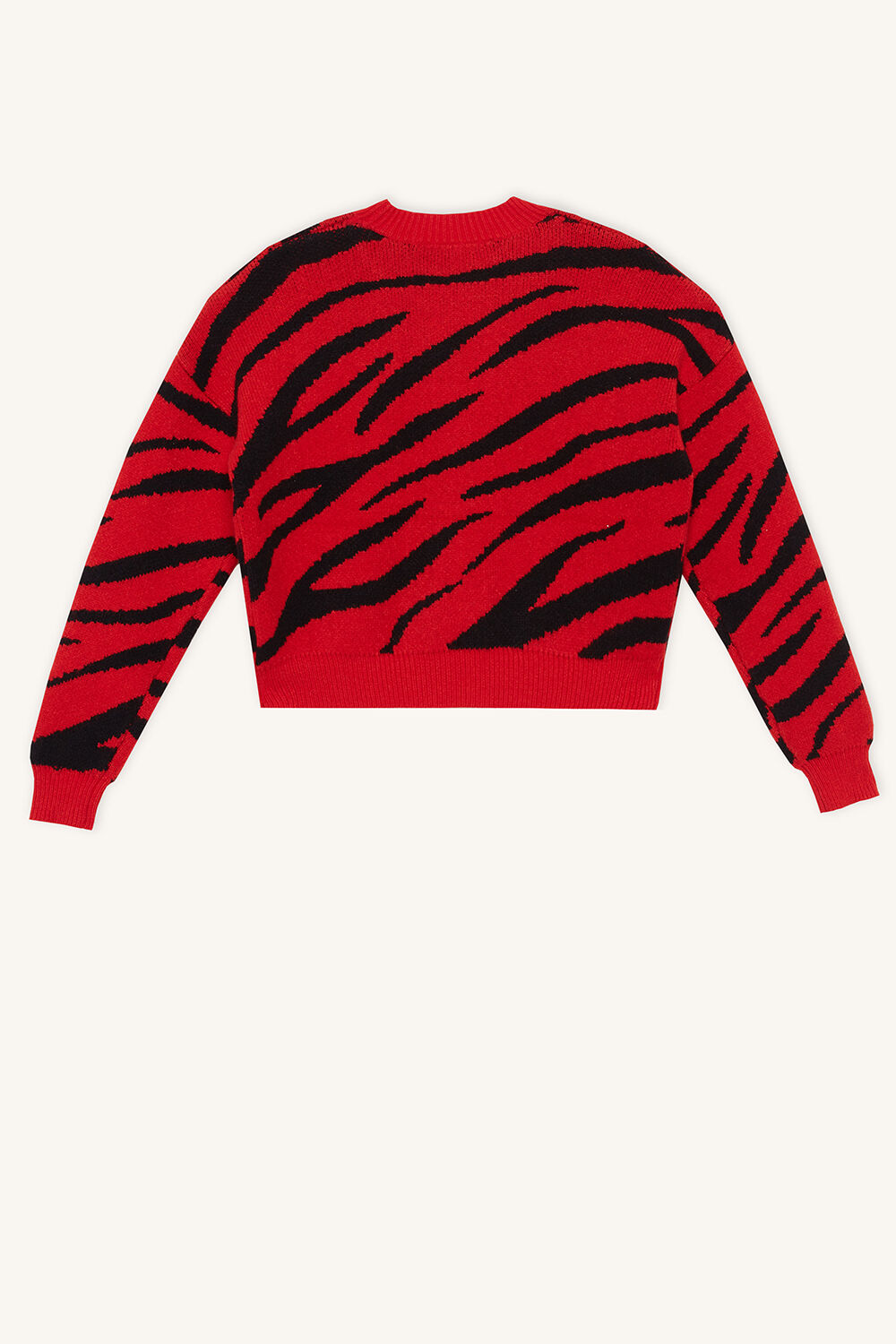 RED ZEBRA KNIT JUMPER in colour RIBBON RED