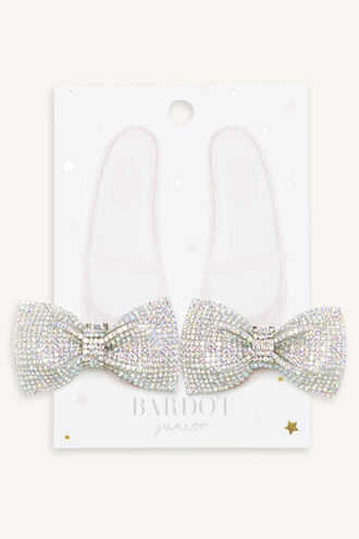 JEWELLED BOW SHOE CLIPS in colour SILVER