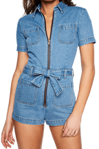 DENIM ZIP ROMPER in colour CITADEL