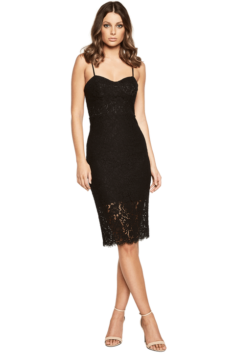 PIERRE LACE DRESS in colour CAVIAR