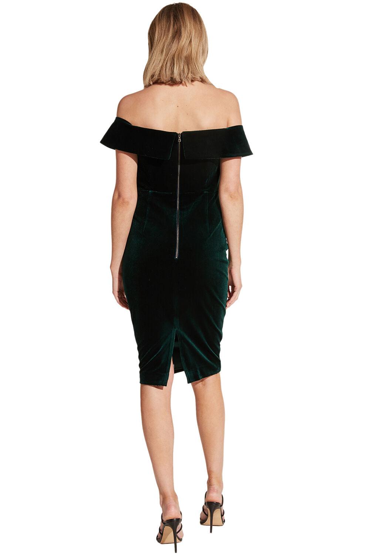 BELLA VELVET DRESS in colour DARK GREEN