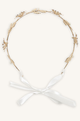 METAL FLOWER HEADBAND in colour GOLD EARTH