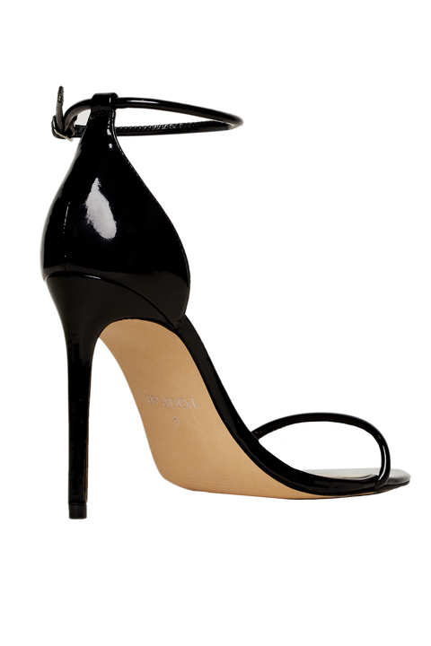 PATENT STRAP HEEL in colour METEORITE
