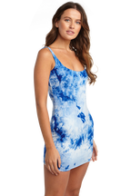 TIE DYE DRESS in colour TURKISH SEA