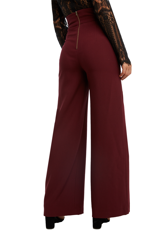 EYELET TIE PANT in colour BURGUNDY