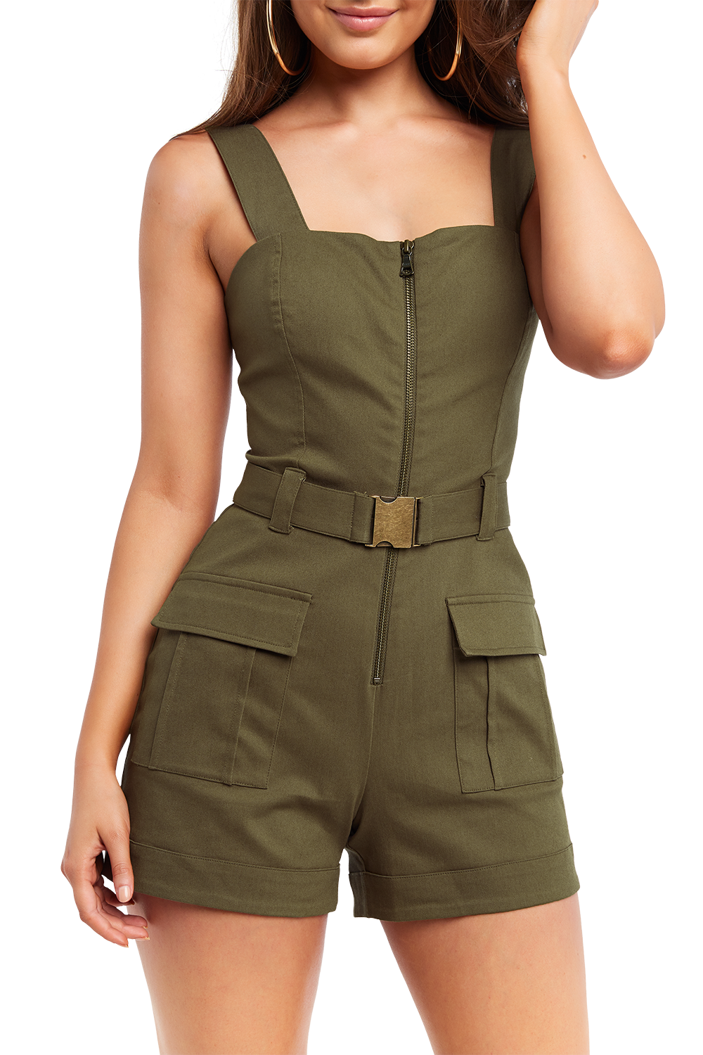 BUCKLE SHORT PLAYSUIT in colour BURNT OLIVE