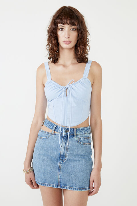 THE CORSET TOP in colour CERULEAN
