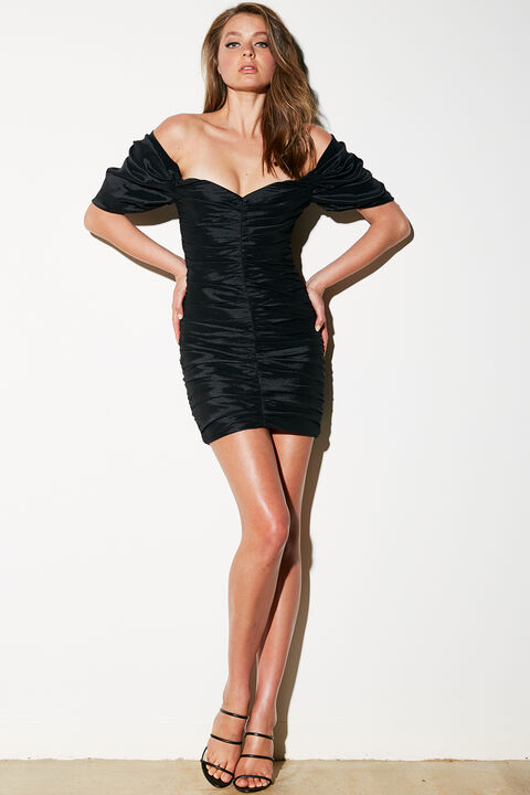 ISSEY MINI DRESS in colour CAVIAR