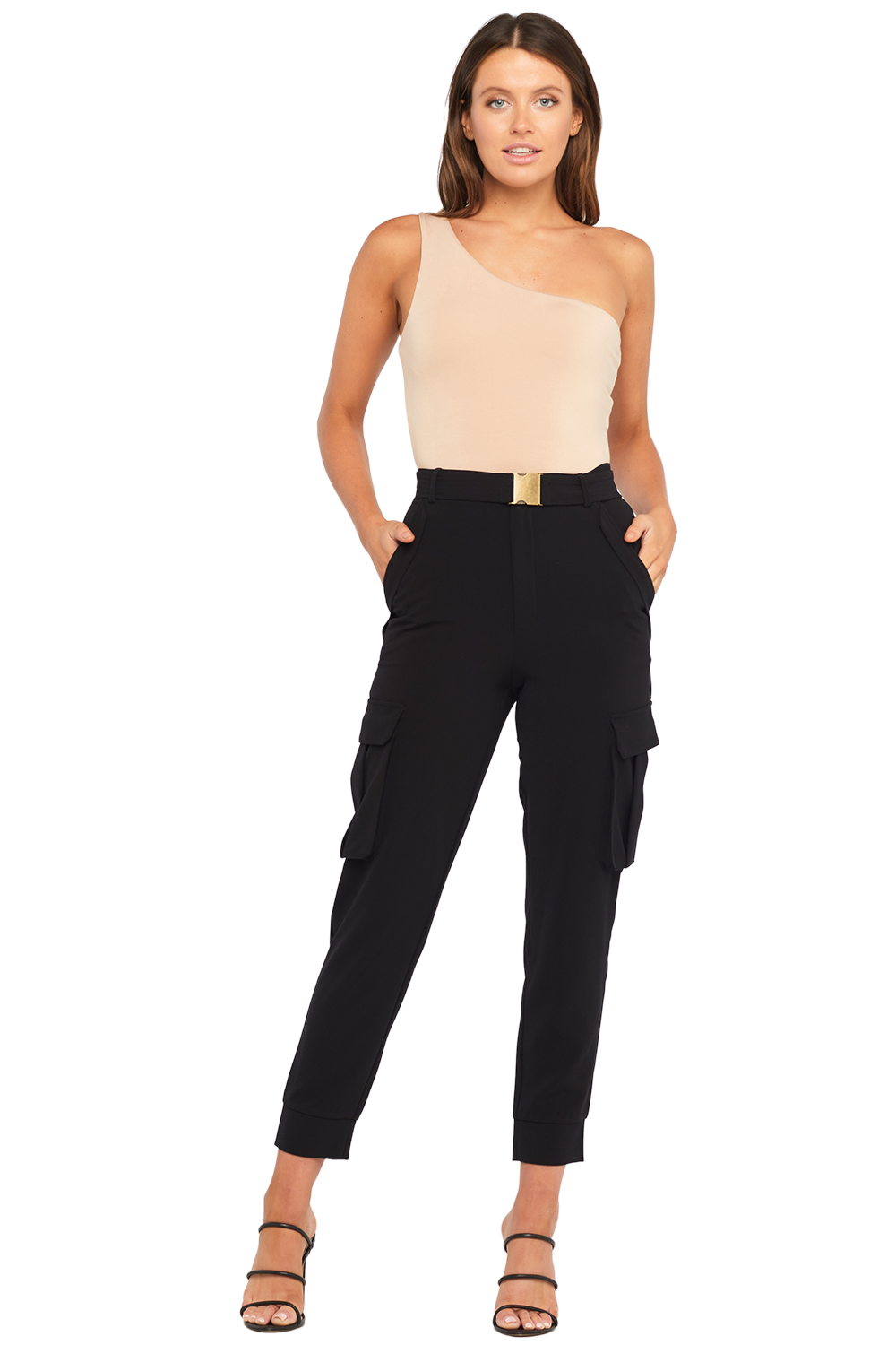 LANA BELTED PANT in colour CAVIAR
