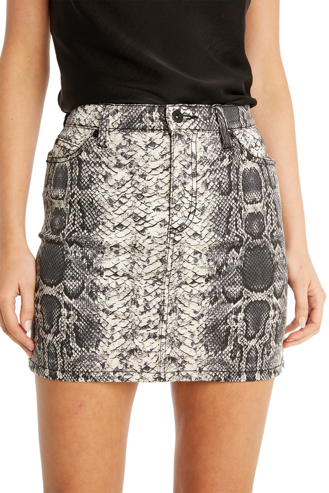 SNAKE DENIM SKIRT in colour BRIGHT WHITE