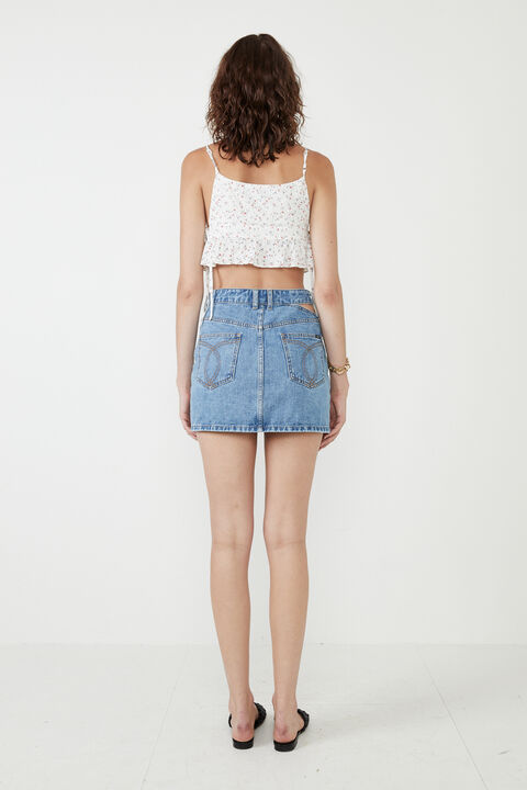 CUT OUT DENIM SKIRT in colour CITADEL