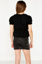 PIA RUFFLE TOP in colour JET BLACK