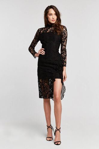 DIONNE LACE DRESS in colour CAVIAR