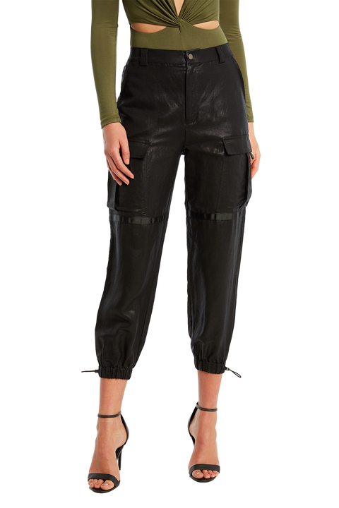 COATED CARGO PANT in colour CAVIAR