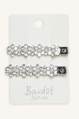 JEWELLED FLOWER HAIR CLIP 2PK in colour SILVER