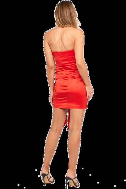 HILARY MINI DRESS in colour HIGH RISK RED