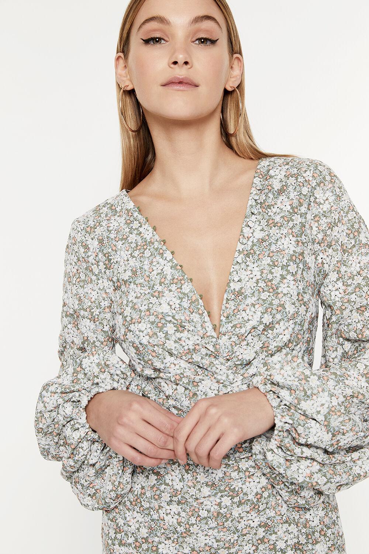 SERENITY MINI DRESS in colour BURNT OLIVE