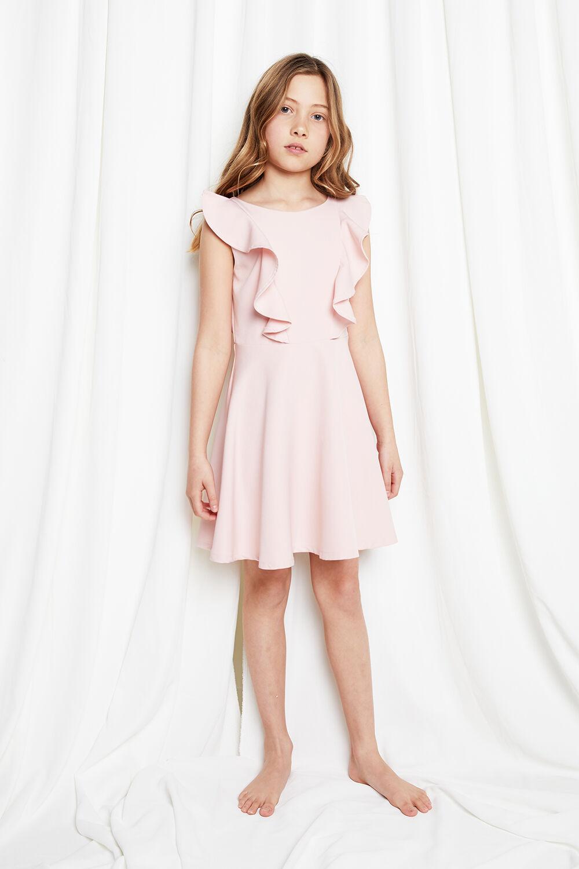 JUNIOR GIRL RILEY RUFFLE DRESS in colour POTPOURRI