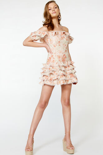 CAITLYN MINI DRESS in colour PEACH MELBA