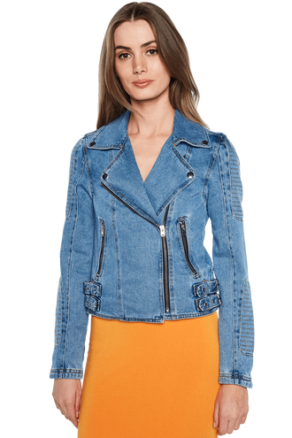 DENIM BIKER JACKET in colour CITADEL